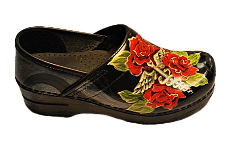 Custom Dansko Hand Painted Heal Rose Clogs