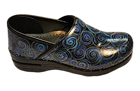 Hand Painted Blue Swirl Dansko Clogs