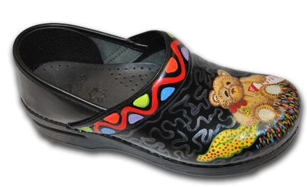 Handpainted Teddy Bear Dansko Clogs
