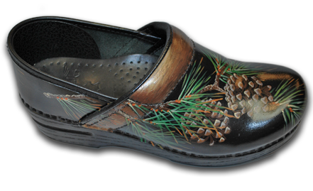 Hand Painted Fall Pinecone & Pine Needles Clogs