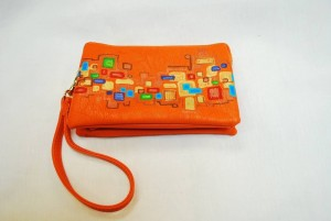 Custom Hand Painted Orange Square Purse