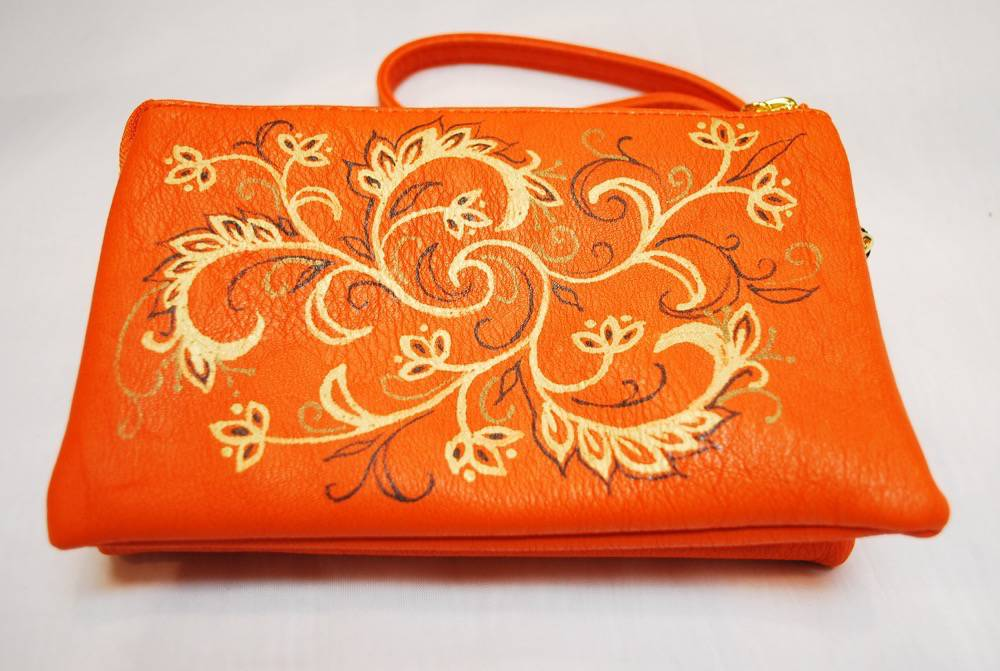 Custom Hand Painted Orange Design Purse
