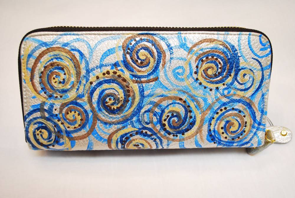 Custom Hand Painted Swirls Purse