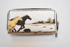 Custom Hand Painted Running Horses Purse