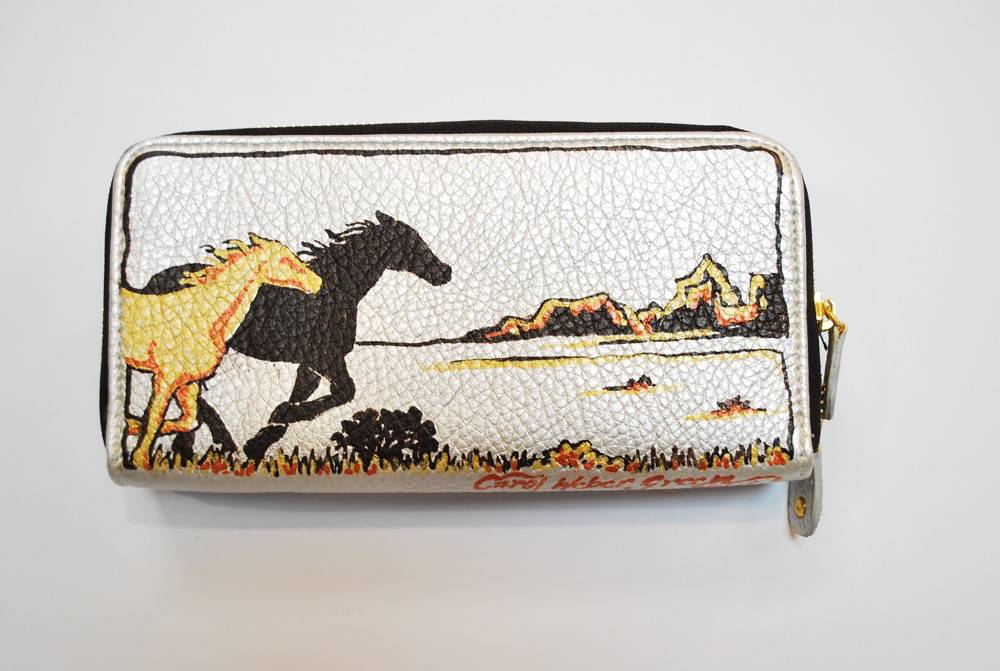 Custom Hand Painted Running Horses Purse