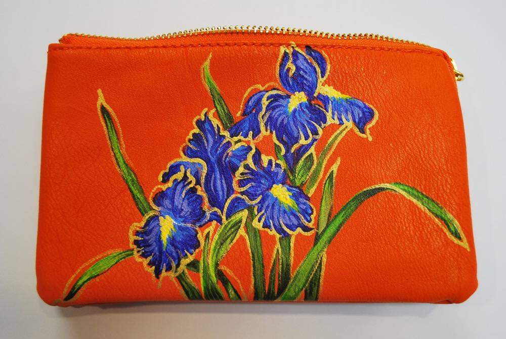 Custom Hand Painted Purple Flower Purse