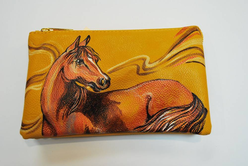 Custom Hand Painted Orange Horse Purse