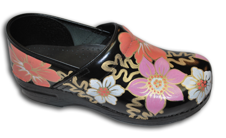Hand Painted Pink Flower & Floral Clogs
