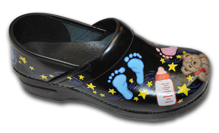 Hand Painted Baby Feet Themed Dansko Clogs