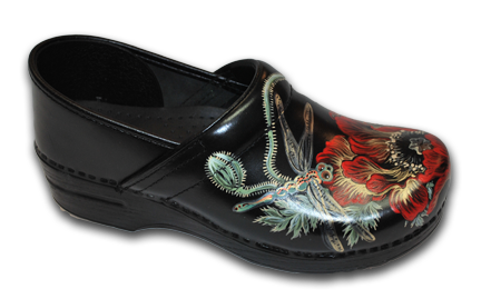 Hand Painted Dragonfly & Red Poppy Clogs