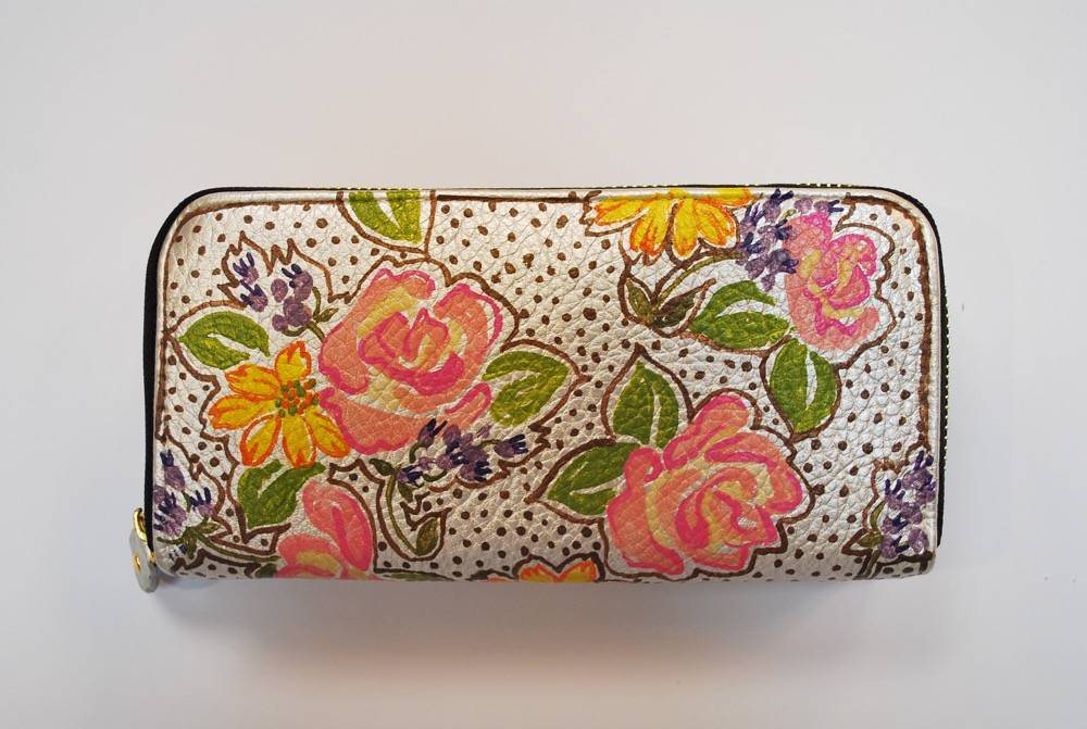 Custom Hand Painted Floral Purse