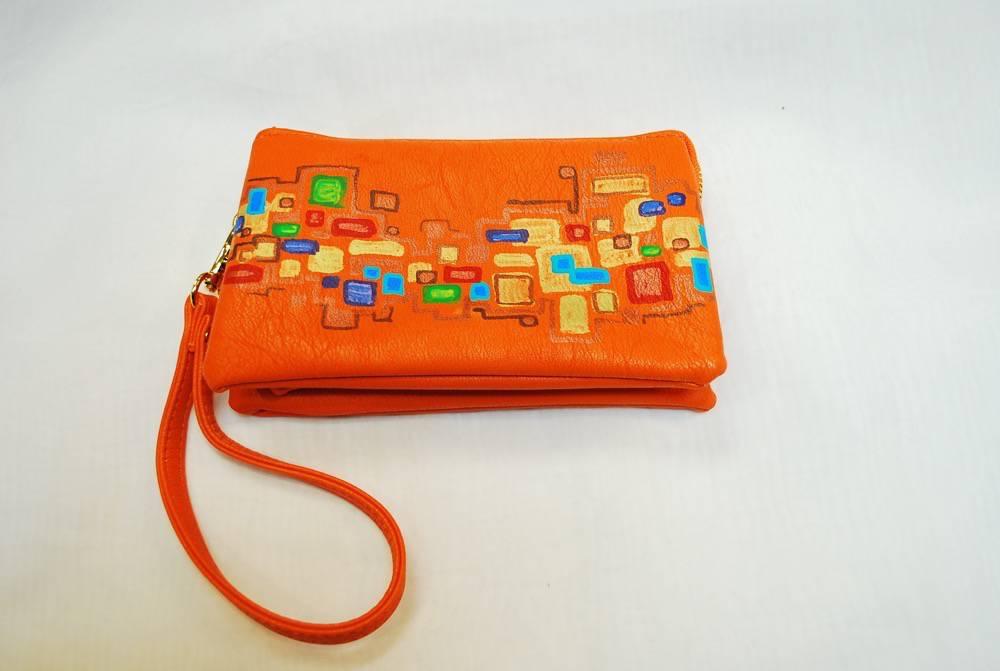 Custom Hand Painted Orange Square Purse