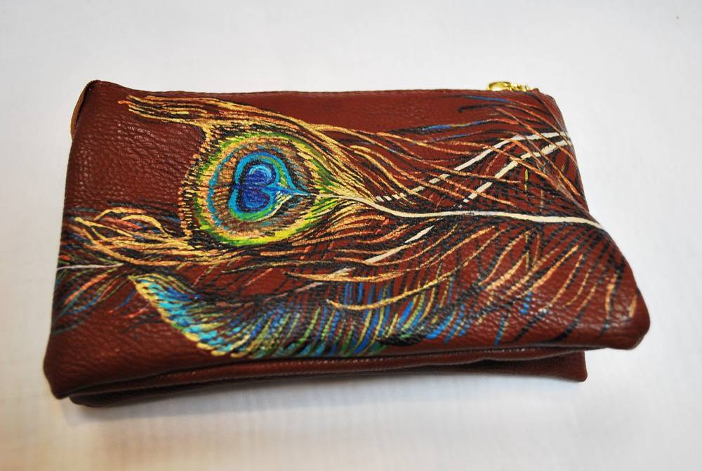 Custom Hand Painted Peacock Feather Purse