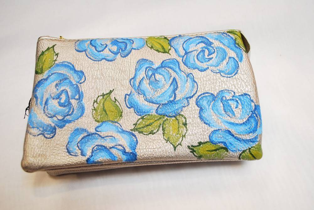 Custom Hand Painted Blue Flower Purse