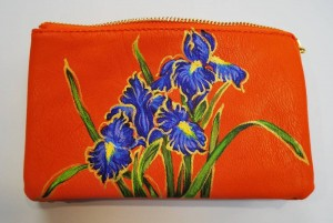 Custom Hand Painted Blue Flower Purse