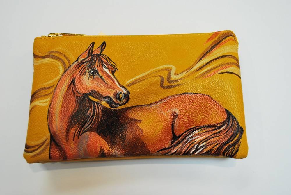 Custom Hand Painted Orange Horse Purse