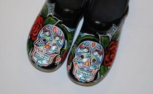 LIMITED EDITION DANSKO PROFESSIONAL HAND PAINTED CLOG: SUGAR SKULL