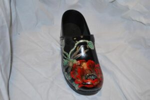 LIMITED EDITION DANSKO PROFESSIONAL HAND PAINTED CLOG - DRAGON FLY/RED POPPY