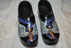 LIMITED EDITION DANSKO HAND PAINTED PROFESSIONAL CLOG - MEDICAL WINGS