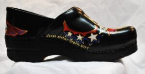 LIMITED EDITION DANSKO HAND PAINTED CLOGS ONE OF A KIND SUPER NURSE - RN