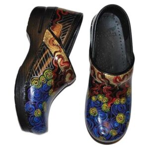 LIMITED EDITION DANSKO PROFESSIONAL HAND PAINTED CLOG: MULTI GOLD SWIRL